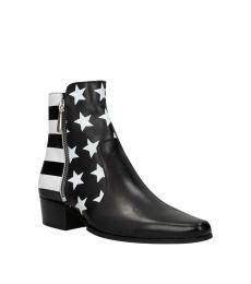 Black White Vintage Leather Boots