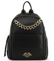 Love Moschino Black Chain Large Backpack