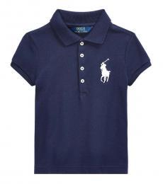 Little Girls French Navy Big Pony Polo