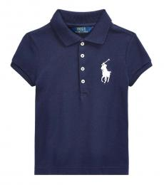 Ralph Lauren Little Girls French Navy Big Pony Polo