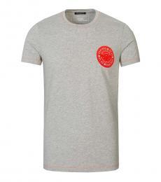 Balmain Grey Logo Patch T-Shirt
