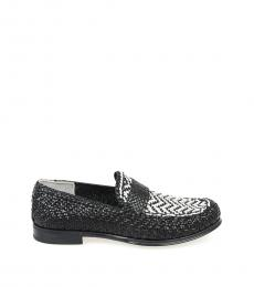 Black White Braided Loafers