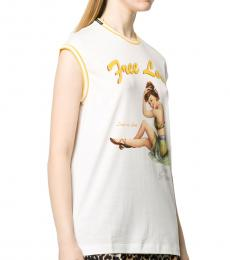 Dolce & Gabbana White Graphic Cotton Tank Top