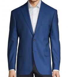 Dark Blue Textured Wool Sportcoat