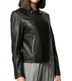 Emporio Armani Black Leather Zipped Biker Jacket