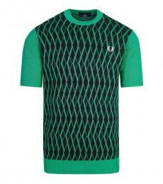 Dark Green Half Sleeve Logo Sweater