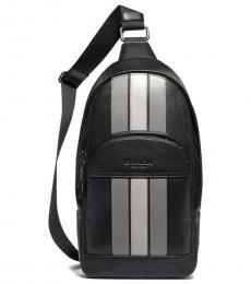 Coach Black Grey Chalk Houston Varsity Stripe Slingpack