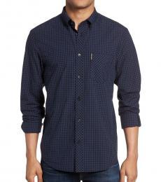 Ben Sherman Navy Blue Slim Fit Gingham Shirt