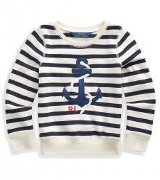 Little Girls Cream/Navy Anchor Sweatshirt