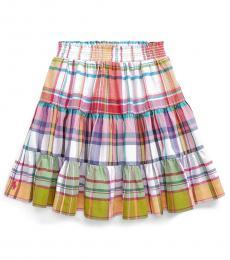 Ralph Lauren Girls Multi Tiered Madras Skirt