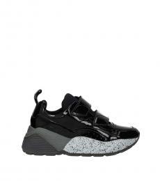 Black Strap Closure Sneakers