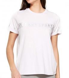 DKNY White Crew Neck Foil Print Tee
