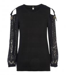 Cavalli Class Black Cold Shoulder Sweater Top