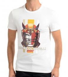 Roberto Cavalli White Graphic Print T-Shirt