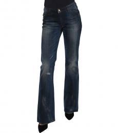 Just Cavalli Blue Washed Mid Waist Boot Cut Denim Jeans