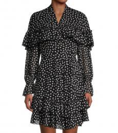 Diane Von Furstenberg Black Martina Floral Ruffle Dress