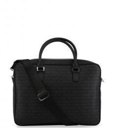 Armani Jeans Black Signature Large Briefcase Bag