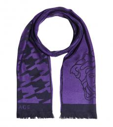 Versace Violet Medusa Logo Scarf