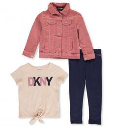 DKNY 3 Piece Jacket/Top/Leggings Set (Little Girls)