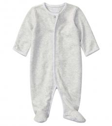 Ralph Lauren Baby Boys Quartz Grey Heather Interlock Coverall