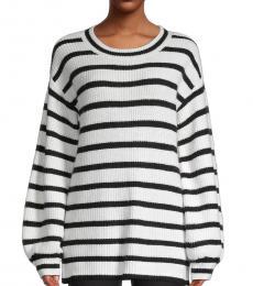 White Black Blouson-Sleeve Stripe Sweater