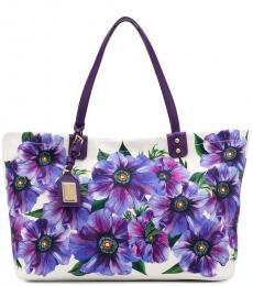 Dolce & Gabbana Violet Floral Large Tote
