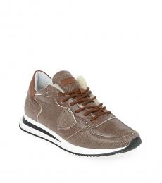 Philippe Model Brown Cracked Leather Sneakers