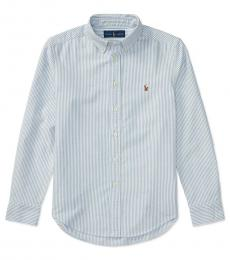 Ralph Lauren Boys Light Blue Stripe Blake Oxford Shirt
