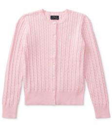 Ralph Lauren Girls Hint of Pink Cable-Knit Cardigan