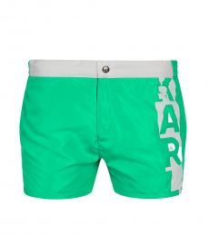 Karl Lagerfeld Green Logo Swim Trunks