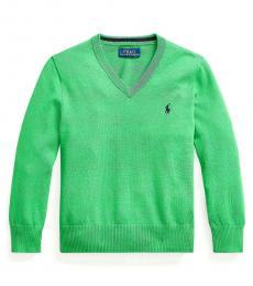Ralph Lauren Little Boys Golf Green V-Neck Sweater