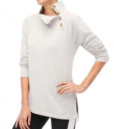 J.Crew Hthr Dusk Wide Button-Collar Tunic Sweatshirt