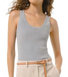 Michael Kors Pearl Grey Ribbed Stretch-Viscose Tank Top