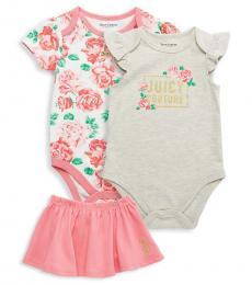 Juicy Couture 3 Piece Bodysuits/Skirt Set (Baby Girls)