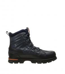 Ralph Lauren Navy Delton Leather Boots