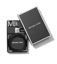 Michael Kors Black Logo Reversible Two Buckle Belt