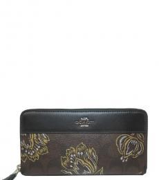 Chestnut Metallic Signature Zip Wallet