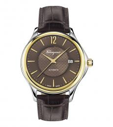 Salvatore Ferragamo Dark Brown Two-Tone Automatic Watch