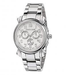 Roberto Cavalli Silver Chronograph Watch