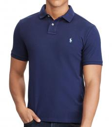 Navy Blue Classic Fit Mesh Polo
