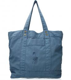 Blue Embroidered Logo Large Tote