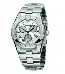 Roberto Cavalli Silver Chronograph Roman Watch
