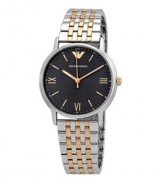 Emporio Armani Gold-Silver Black Dial Watch