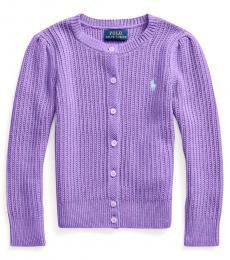 Ralph Lauren Little Girls Rugby Purple Combed Cardigan