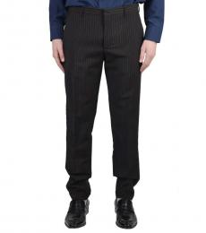 Black Striped Wool Dress Pants