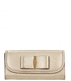 Salvatore Ferragamo Pale Gold Bow Wallet