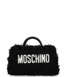 Moschino Black Fur Logo Small Shoulder Bag