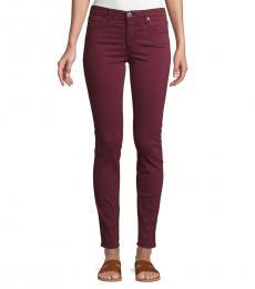 Cherry Sulfur Rich Prima Sateen Skinny Jeans