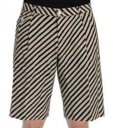 Dolce & Gabbana White Black Striped Hemp Shorts