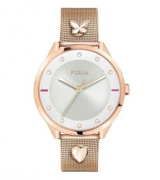Furla Rose Gold Silver Dial Watch
